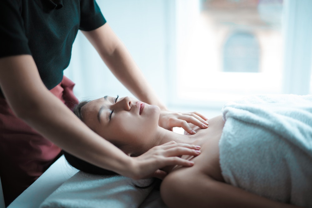woman getting self care massage